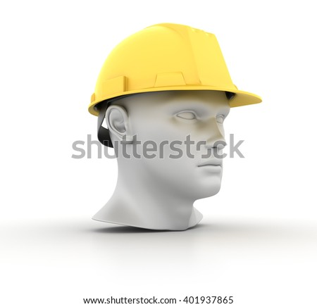 Human Head with Construction Helmet on White Background - High Quality 3D Render   - stock photo
