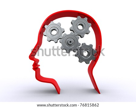 human head with gears - stock photo