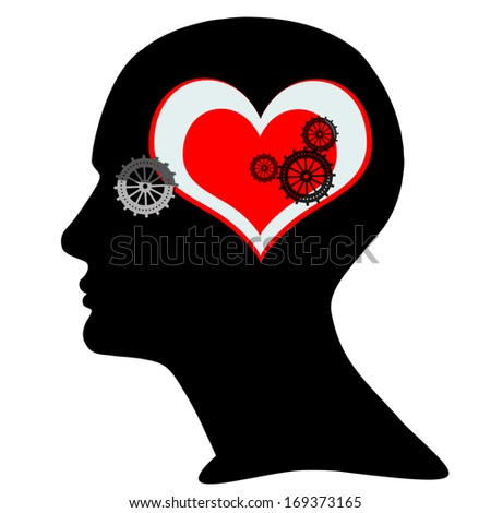 human head with  gears,heart and white background - stock photo