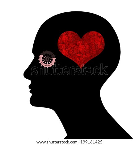 human head with  gears,heart and white background