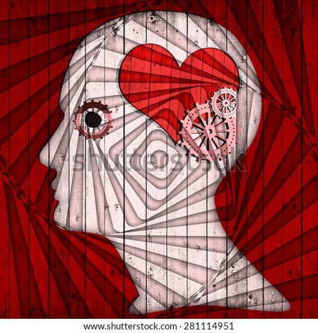 human head with gears , heart,spiral and red wood background - stock photo