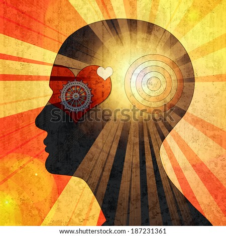 human head with gears heart sun and wall background - stock photo