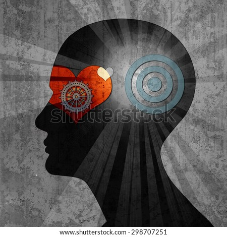 human head with gears heart target wall background  - stock photo