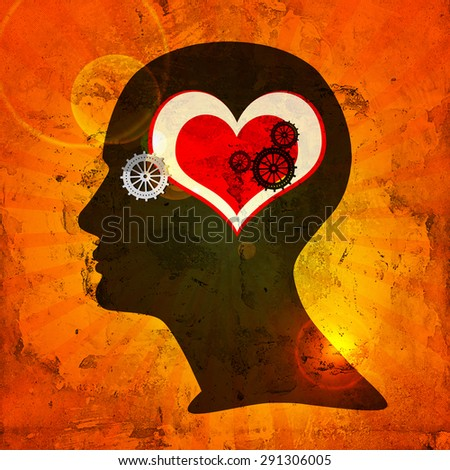 human head with  gears,sun,heart and wall background - stock photo