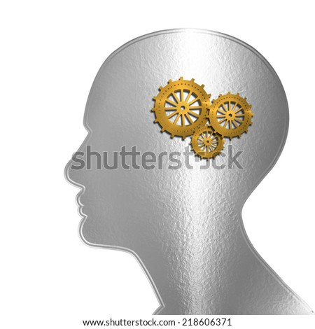 human head with gold gears and white background
