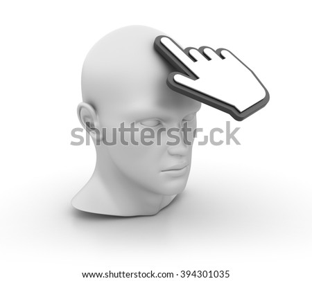 Human Head with Hand Cursor on White Background - High Quality 3D Render   - stock photo