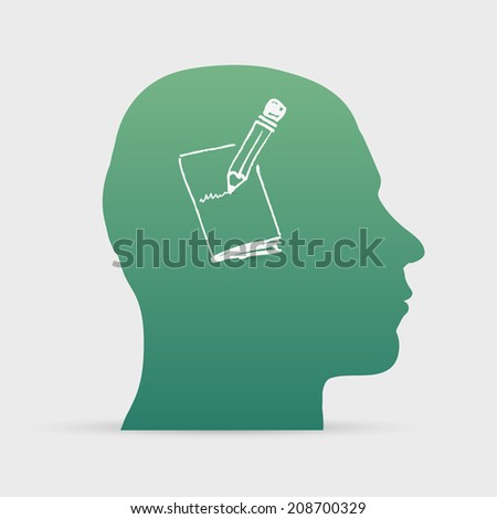 Human head with hand drawn pencil write on paper icon background illustration - stock photo