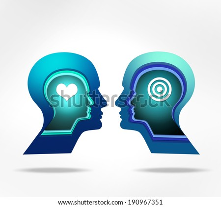 human head with heart and white background - stock photo