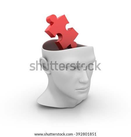 Human Head with Jigsaw Piece on White Background - High Quality 3D Render   - stock photo