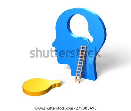 Human head with light bulb shape jigsaw piece. - stock photo