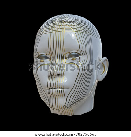 human head with linear ornament, 3d illustration