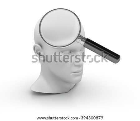 Human Head with Magnifying Glass on White Background - High Quality 3D Render   - stock photo