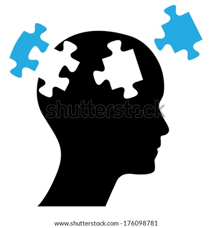 Human head with puzzles, raster version. - stock photo