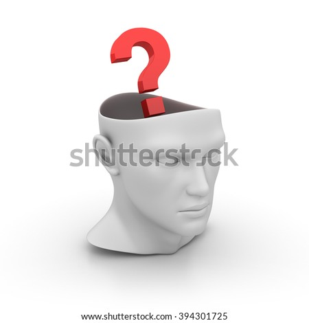 Human Head with Question Mark on White Background - High Quality 3D Render   - stock photo