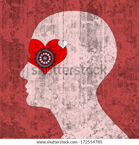 human head with red heart and wall   background - stock photo