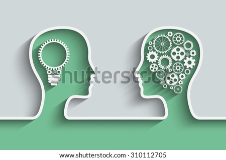 Human head  with set of gears as a symbol work of brain,