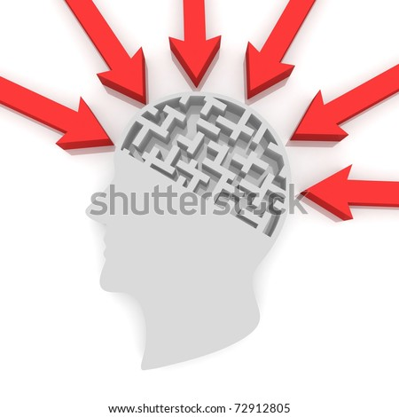 human head with the brain as a maze to which the arrows are directed