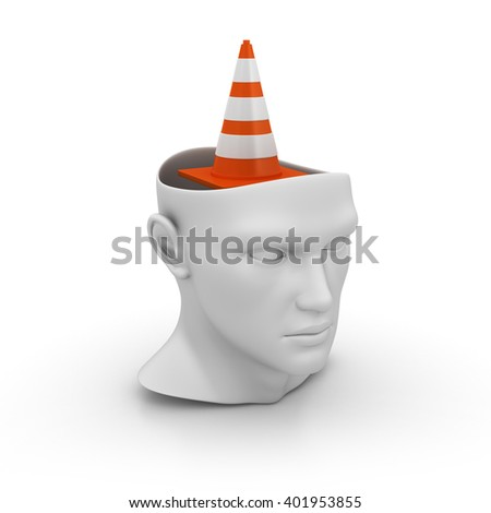 Human Head with Traffic Cone on White Background - High Quality 3D Render  - stock photo
