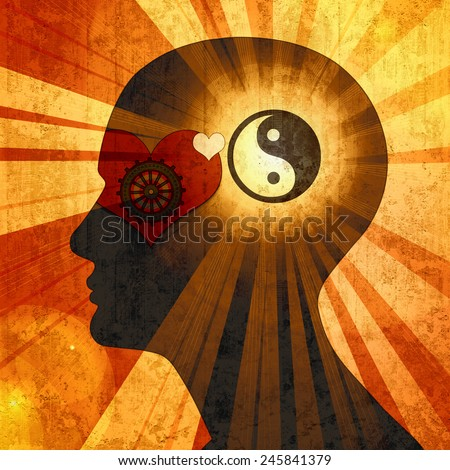 human head with Yin yang symbol, gears, heart, sun and wall background  - stock photo