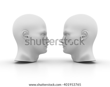 Human Heads on White Background - High Quality 3D Render   - stock photo