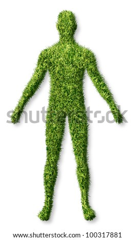 Human health and growth as a symbol of personal success in living a healthy life as an icon of health care medicine and medical issues as a patch of green grass turf in the shape of a body on white. - stock photo