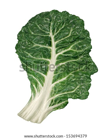 Human healthy diet concept as a dark green leafy kale or collard leaf shaped as a head  symbol of fresh vegetable eating and intelligent dieting using farm fresh natural organic produce. - stock photo