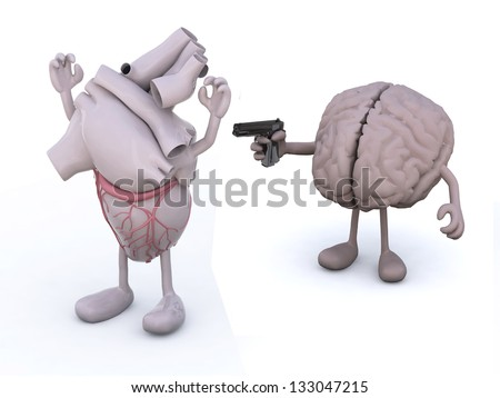 human heart and human brain with arms and legs, brain has a gun and points it at the heart who has his hands up