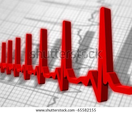 Human heart beat ekg/ecg pulse diagram - stock photo