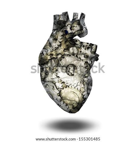 Human heart gears - stock photo