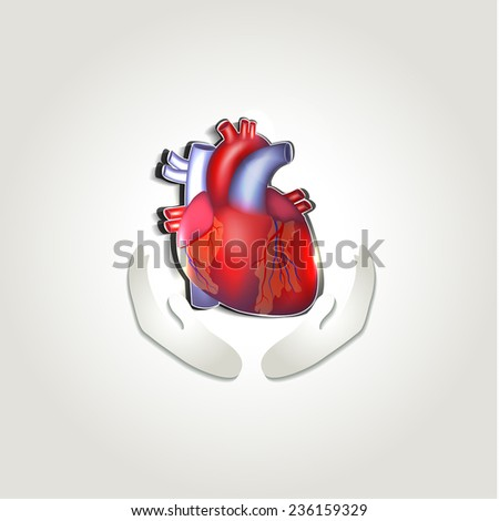 Human heart health care symbol abstract design - stock photo