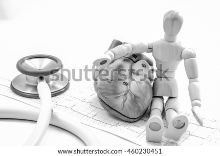 human heart model with black and white color concept - stock photo