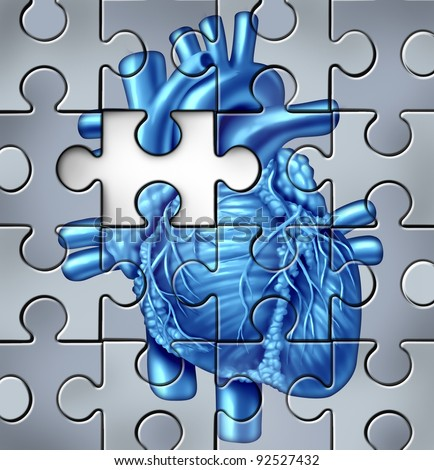 Human heart problems concept on a jigsaw puzzle with a missing piece as cardiac dangers of an unhealthy organ failure for medical cardiovascular blood circulation resulting in a heart attack. - stock photo