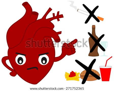 Human heart versus bad habits cartoon illustration - stock photo