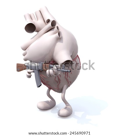 human heart with arms, legs and rifle, 3d illustration