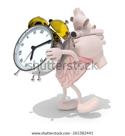 human heart with arms, legs that brings alarm clock, isolated 3d illustration - stock photo