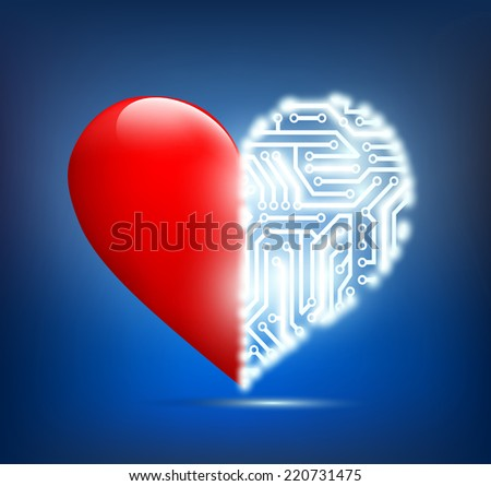 human heart with the circuit board inside - stock photo