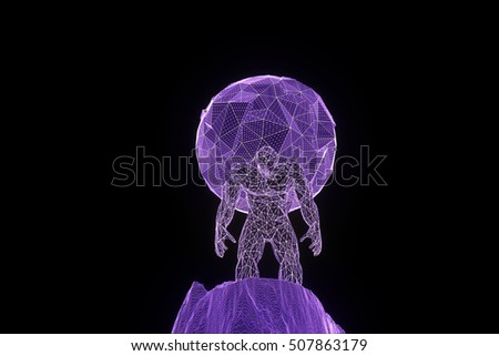 Human hold Earth in Wireframe Hologram Style. Nice 3D Rendering