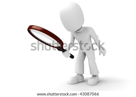 human holding a BIG magnifier glass :) - stock photo