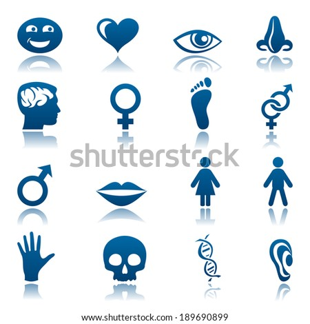 Human icon set. Raster version - stock photo