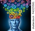 Human imagination and creative man as the intelligent brain with a front facing head that has rainbow spectrum colored gears and cogs exiting the mind as an artistic design thinking in business. - stock photo