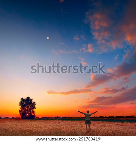 Human in a wheat field enjoy bright colorful sunset - stock photo