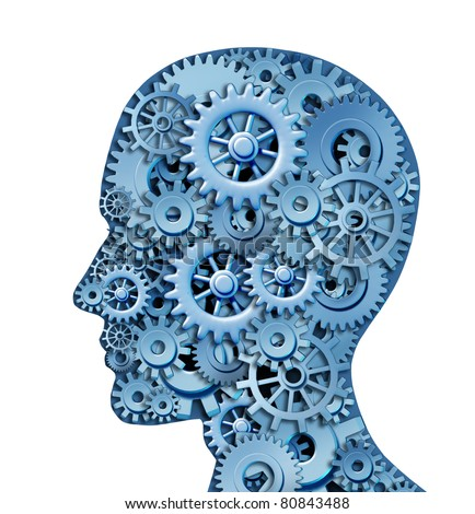 Human intelligence and brain function isolated on white represented by gears in the shape of a head representing the symbol of mental health and neurological functioning in patients with depression. - stock photo