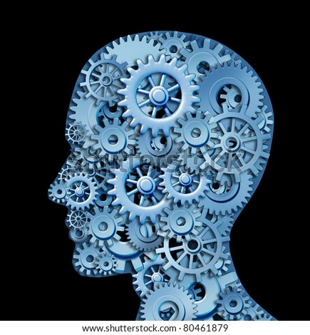 Human intelligence and brain function represented by gears in the shape of a head representing the symbol of mental health and neurological functioning in patients with a depression disability. - stock photo