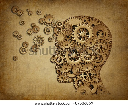 Human intelligence brain function with grunge texture made of machine cogs and gears representing education and teaching of strategy and psychological mental neurological activity. - stock photo