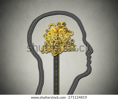 Human intelligence. Road shaped as human face with cogs and gears mechanism Business strategy and psychological mental neurological activity concept  - stock photo