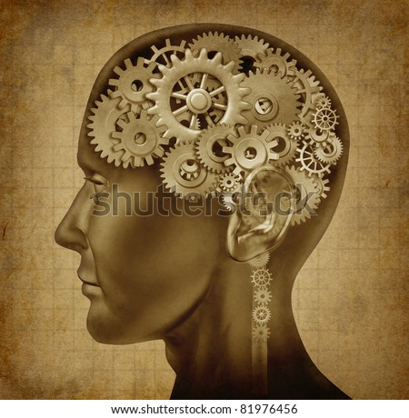 Human intelligence with grunge texture made of cogs and gears representing strategy and psychological mental neurological activity.