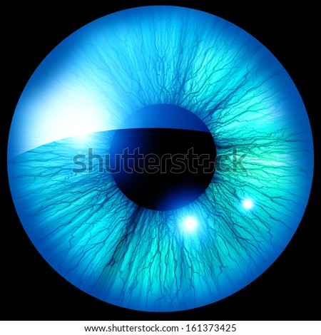 Human iris with some highlights and reflections - stock photo