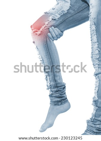 Human knee pain with an anatomy injury caused by sports accident or arthritis as a skeletal joint problem medical health care concept.  - stock photo