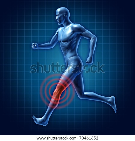 human Knee therapy runner joint pain medical injury - stock photo