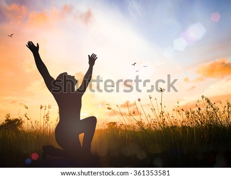 Human kneeling and raising hands. Mercy Right Trust Catholic Migrant Free Labour Law God Power Moral Grief Amnesty Change Black Liberty Islam Person Religion Answer Prayer Pray Glorify Alone concept. - stock photo